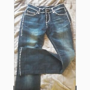 Ed Hardy Jeans with White Leather Lettering